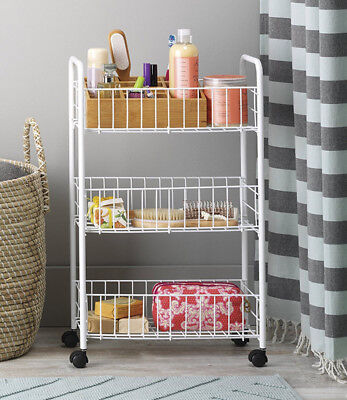 Wire Shelving Rack Small Portable Shelf Cart 3 Tier Laundry Cleaning Supplies