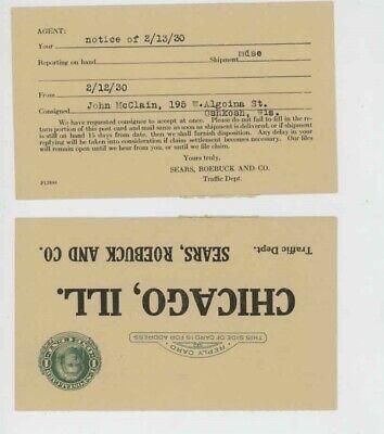 Mr Fancy Cancel Sears Roebuck & Co 1930 Postal Card #4490