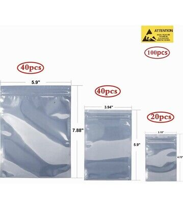 100 Resealable Anti-static Bags - 3 Sizes For Hdd Ssd Other Electronics Esd
