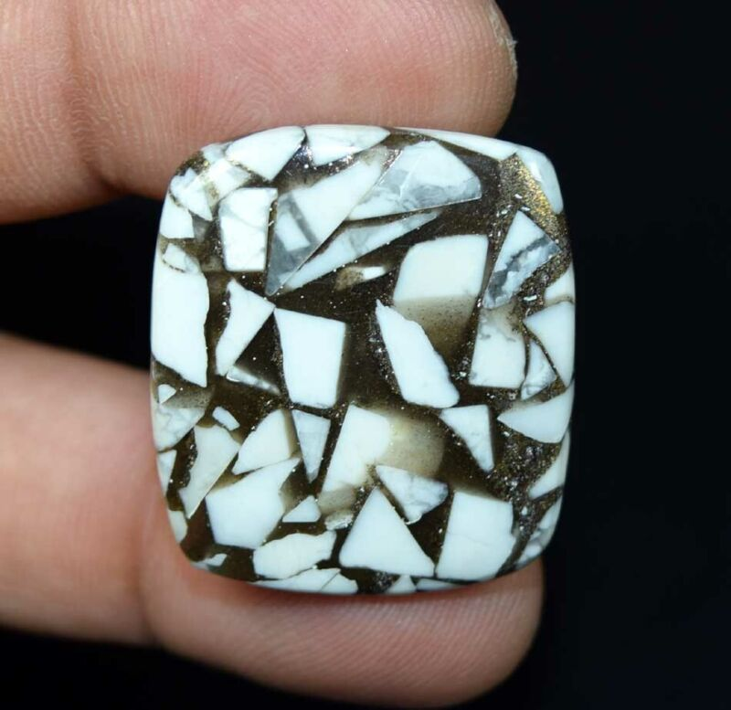 30.00 Cts. Reconstructed Copper White Howlite Cushion Cabochon Loose Gemstone