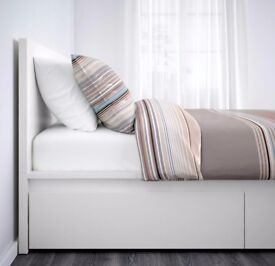 Bed frame with 2 storage boxes + high quality mattress + Chest of drawers - ORIGINAL VALUE 750£