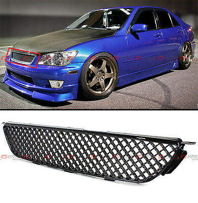 VIP GLOSSY BLK JDM DIAMOND FRONT HOOD MESH GRILL GRILLE FOR 2001-05 LEXUS IS300