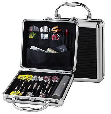 Aluminum Dart Case (Casemaster Ternion Silver Black Aluminum Hard Dart Case Holds darts flight shaft )