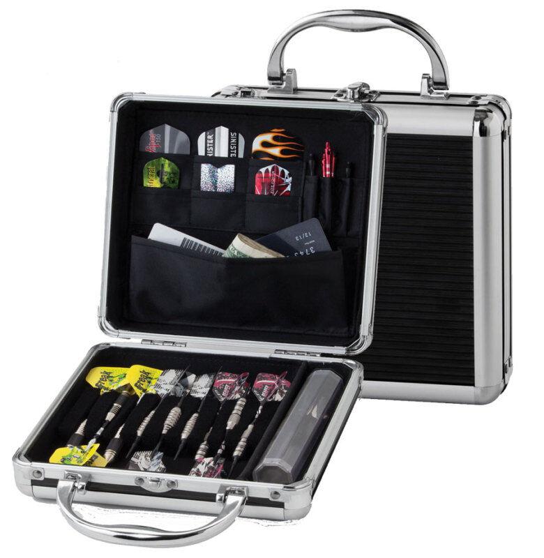 Casemaster Ternion Silver Black Aluminum Hard Dart Case Holds darts flight shaft