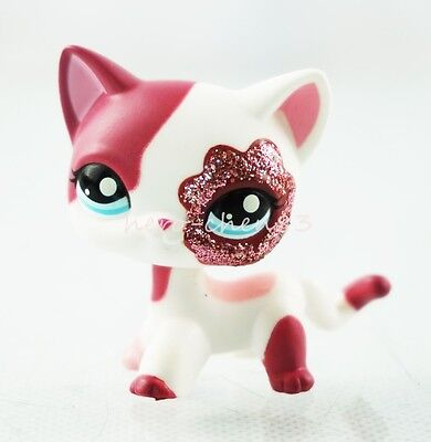 Littlest Pet Shop LPS Pink White Sparkle Glitter Short Hair Cat Kitty Toys #2291