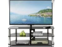 Glass tv stand brand new in the box colour black and silver