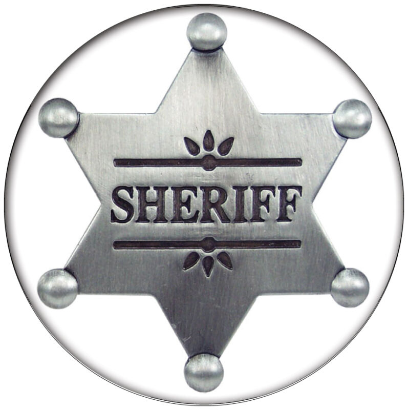 """1 BUTTON 3"""" SHERIFF BADGE HALLOWEEN COSTUME PROP SAFETY PIN BACK"""