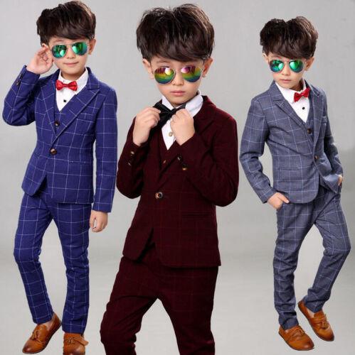 3Pcs Kids Boys Suit Set Toddler Formal Tuxedo Suits Wedding Party Dresses  2-12Y
