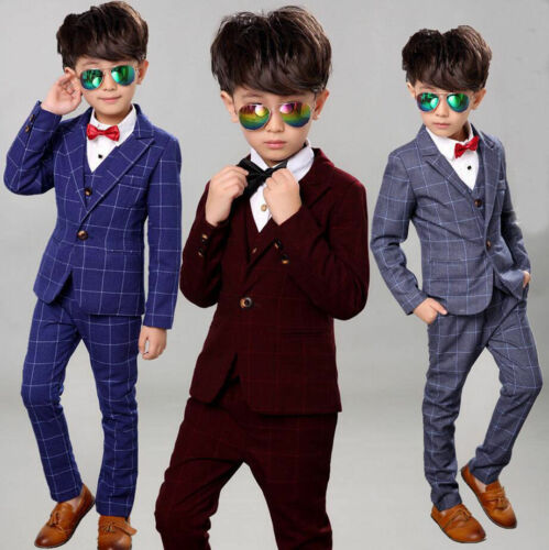 Details about 3Pcs Kids Boys Suit Set Toddler Formal Tuxedo Suits Wedding Party Dresses 2 12Y