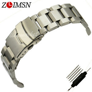 Solid-Stainless-Steel-Watch-Band-SS-Strap-Bracelet-Deployment-Clasp-Curved-22mm