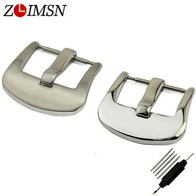 18 20 22 24mm Silver Steel Polished Clasp Matte Watch Band Strap Brushed Buckle