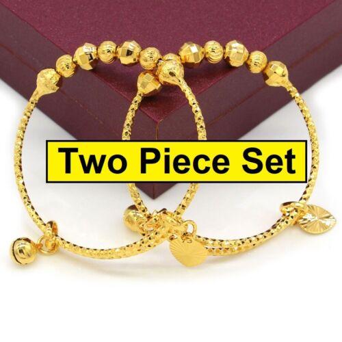 2 Pc Set 18K Yellow Gold Filled Bracelet Bangle Small Baby