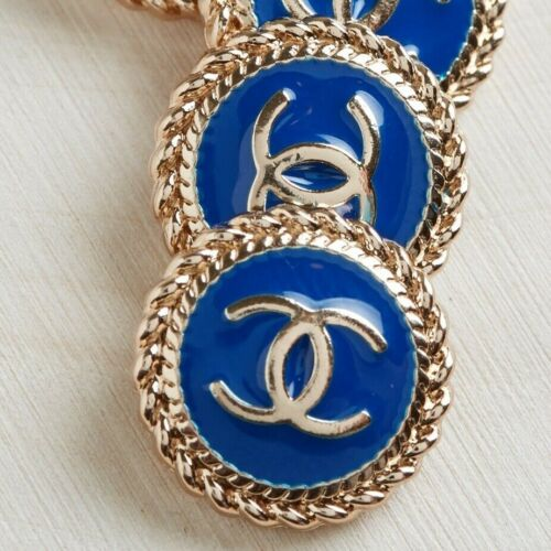 Chanel Buttons STAMPED 2pc CC Gold & Blue 16mm Vintage Style AUTH!!!