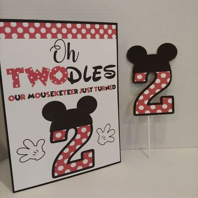 Disney Mickey Mouse Age 2 Cake or Cupcake Topper with stand Up Sign in Red
