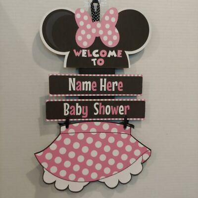 DISNEY BABY MINNIE NEED NAME Hanging Shower Sign in Pink and Black - Pink And Black Baby Shower Decorations
