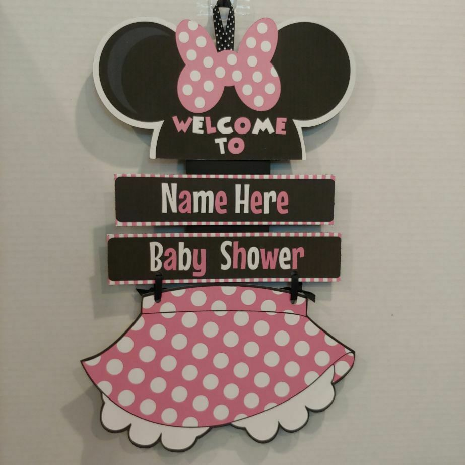 DISNEY BABY MINNIE NEED NAME Hanging Shower Sign in Pink! Do