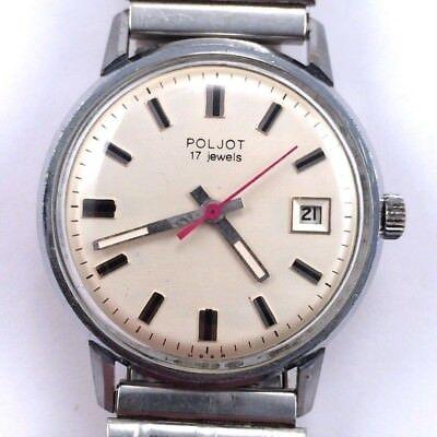 Vintage Soviet POLJOT WindUp watch w/bracelet Serviced USSR VGC *US SELLER* #797