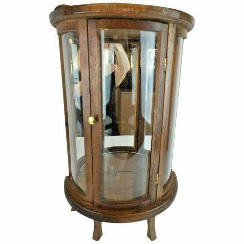 Vintage Estate Miniature Vitrine ~ CURVED Glass Sides