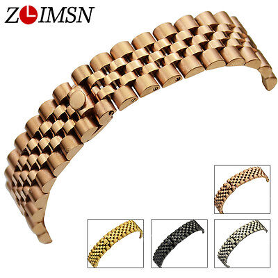 13mm 20mm Stainless Steel Watch Band Strap Black Rose Gold Bracelet Curved End