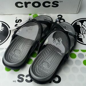 CROCS-ADARA-SLIP-ON-SANDAL-MARY-JANE-BEACH-SHOE-Black-Silver-Womens-9-NWT