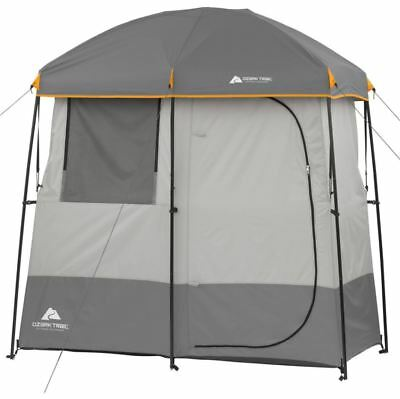 2 Room Shower Tent Camping Gear Beach Shelter Outdoor Ozark Trail Grey Cabana