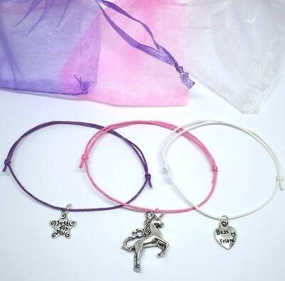 3 x unicorn wish bracelets - Best friend heart star pink purple gift
