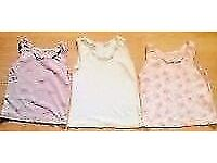 Child Girl's 3 Sleeveless Assorted Vests Camis Tops.Age 2-3 Years.
