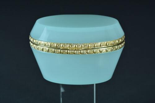 Fine french pale green opaline & gilt brass mount casket trinket  jewelry box