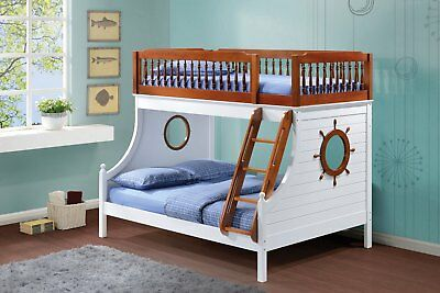 Jack Kids Nautical Sailor's Twin Size Over Full Bunk Bed in Oak & White Finish