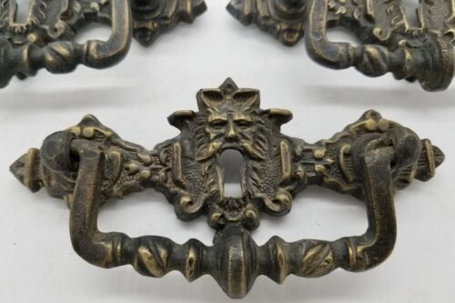 """RARE ANTIQUE FRENCH CAST BRONZE DRAWER PULL FACE """"FACCIA"""" HANDLE 19TH CENTURY WI"""