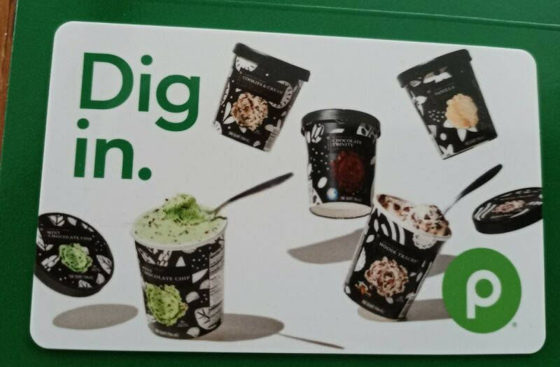 PUBLIX  Supermarket, Dig in. 2021 Gift Card, Ice Cream, Collectible, Mint, PVC