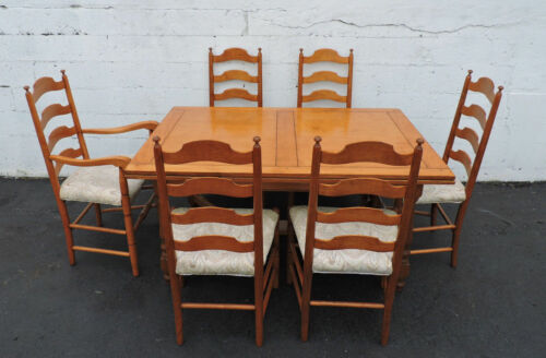 Hard Rock Maple Retractable Dining Table with 6 Chairs by Whitney 7424