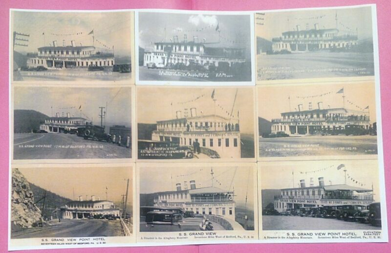 Grand View Point Ship Hotel Rt. 30 Lincoln Highway Pa. 9 RARE! RPPC Views Poster