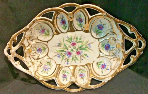 GERMAN DRESDEN PORCELAIN CENTER BOWL FRUIT BOWL FLORAL W GOLD AUGUST RAPPSILBER