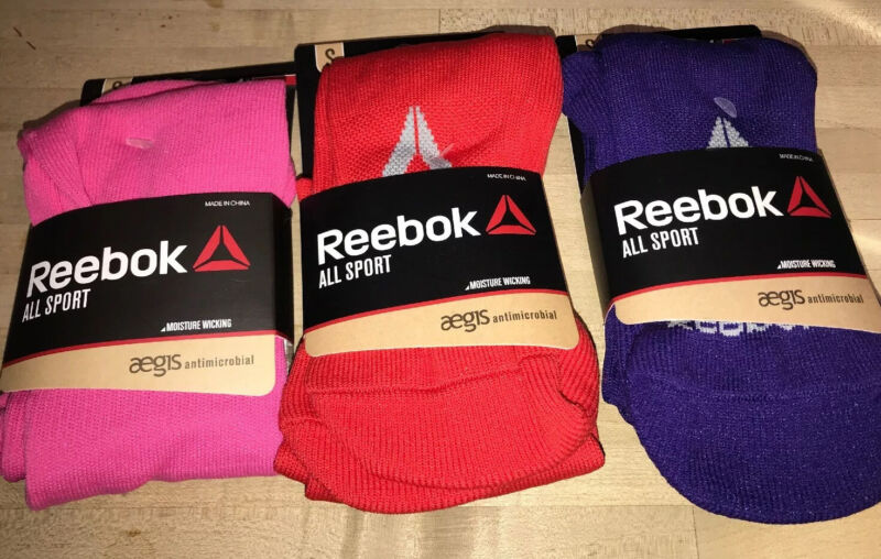 Reebok All Sport Youth Socks -Moisture Wicking - 2 Pairs-Youth Small 13-4