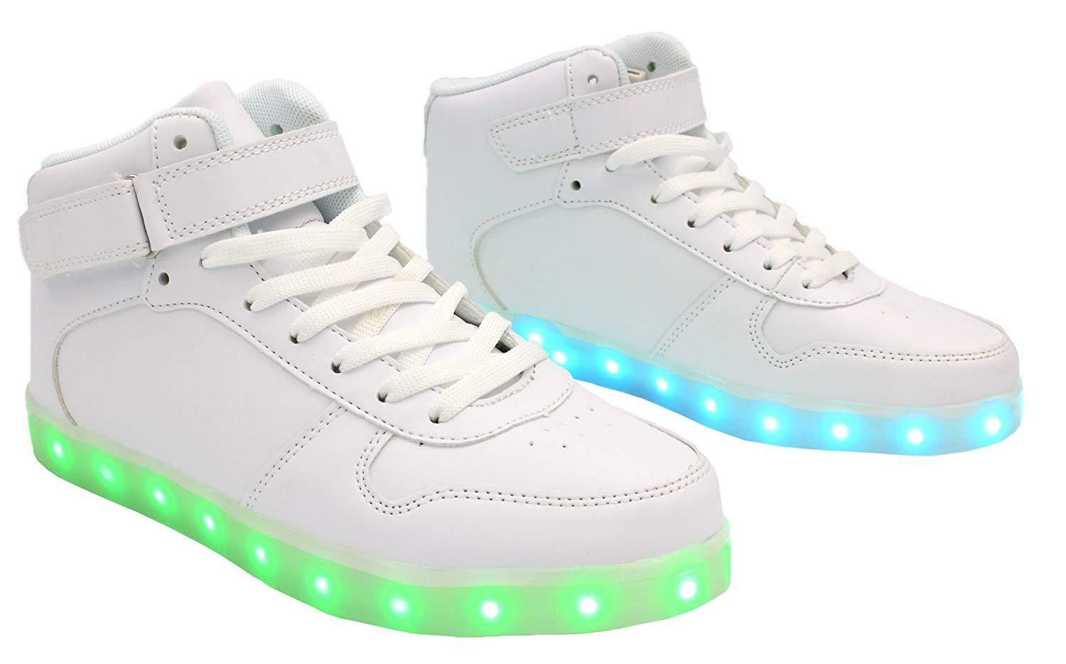 75e63eb3ecda1 Details about Galaxy LED Shoes Light Up USB Charging High Top Lace & Strap  Kids Sneakers White