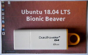 Ubuntu  Linux  18.04 Complete Operating System and Software on 8gb Branded USB