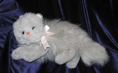 "Ty Classic 1995 Plush 14"" PUFFY Gray Fluffy Baby Kitten Stuffed Toy Kitty Cat"