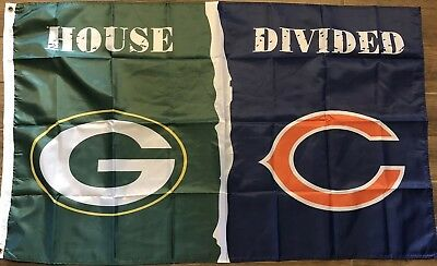 Green Bay Packers Chicago Bears House Divided Flag 3x5 Banner Man Cave Football ()