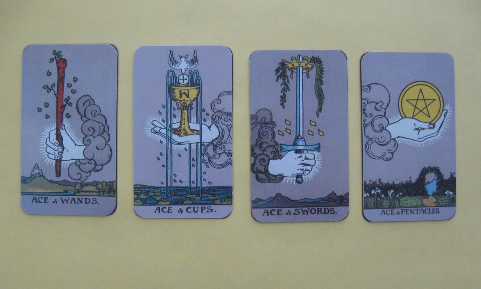 """Four Magnetic """"Waite-Smith"""" Style Meditative Tarot Aces - One of Each Suit!"""