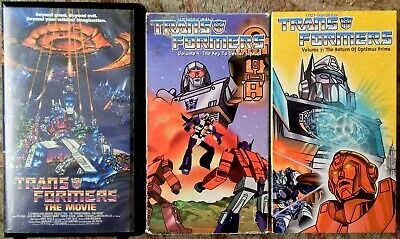 Original Transformers Animated Series & Movie VHS Lot Of 3