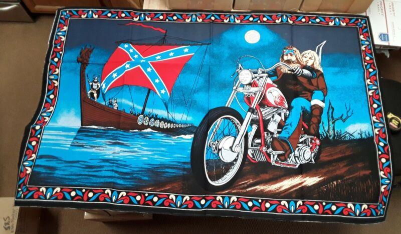 NOS Vintage Harley Easyrider David Mann Motorcycle Large Tapestry Viking Chopper