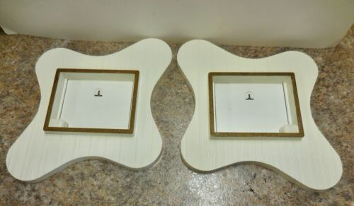 Mid Century Modern pair plastic amoeba shadowbox frame wall plaques Rare! veg