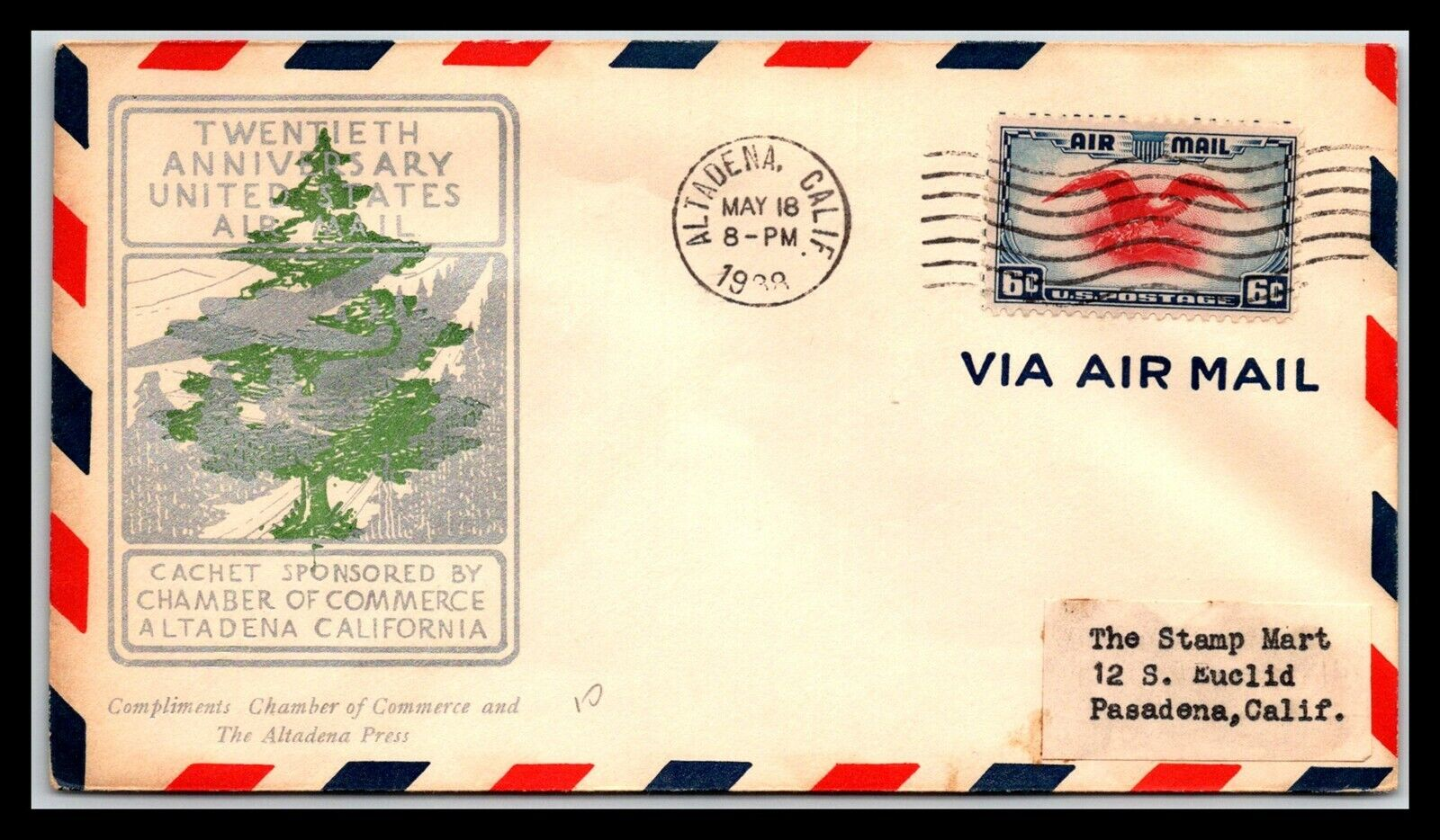 GP GOLDPATH US COVER 1938, ALTADENA, CA. AIR MAIL CV424 P23 - $1.25