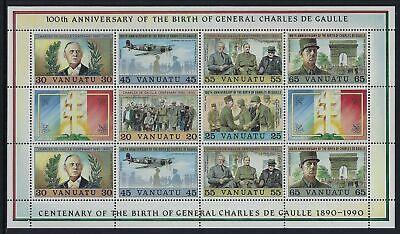 VANUATU 1990 CHARLES DE GAULLE BIRTH ANNIVERSARY SHEETLET MNH