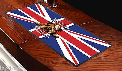 British Bulldog Union Jack Bar Towel Runner Pub Mat Beer Cocktail Party Gift