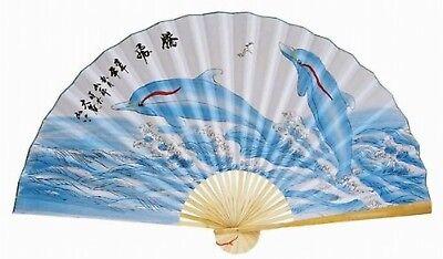 """Classic 35"""" Oriental Feng Shui Wall Fan-Dorphin"""