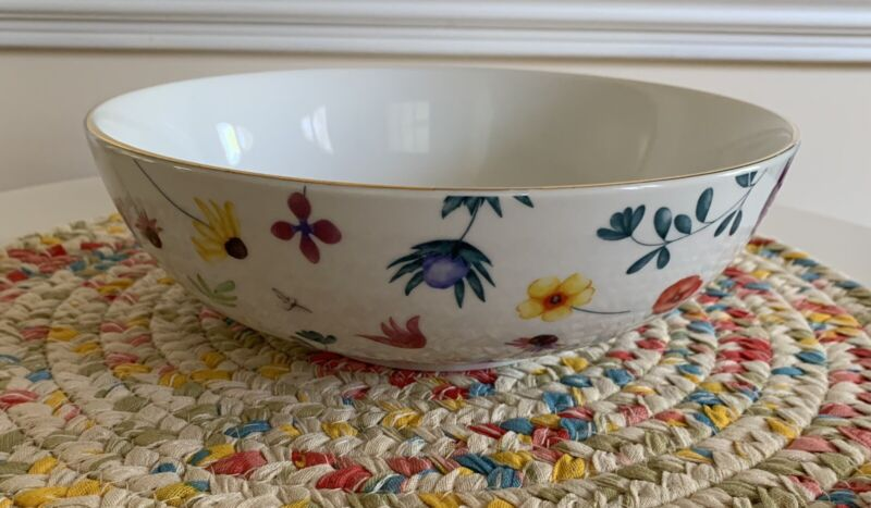 """Disney ~WINNIE THE POOH~ Spring Floral 9.5"""" Large Serving Bowl W/ Gold Trim NEW"""