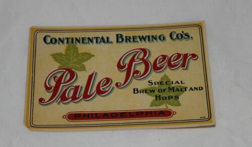 Vintage CONTINENTAL BREWING COMPANY, PA Pale Beer Label