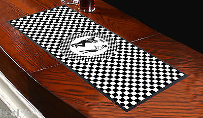 Ska Black & White Checked Bar Towel Runner Pub Mat Beer Cocktail Party Gift